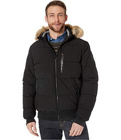 Nautica Hooded Bomber Puffer w\u002F Removable Fau