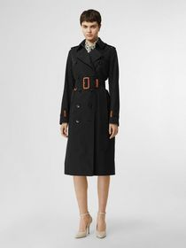 Burberry Leather Detail Cotton Gabardine Trench Co