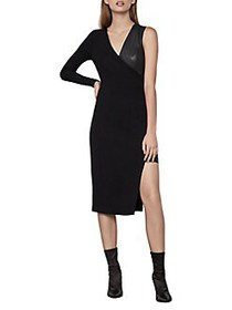 BCBGMAXAZRIA Single-Sleeve Asymmetric Dress BLACK