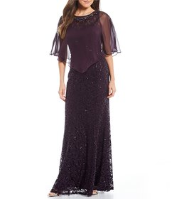 Ignite Evenings Sequin Lace Capelet Gown