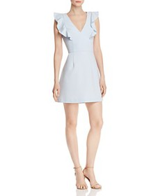 FRENCH CONNECTION - Whisper Ruffled V-Neck Mini Dr