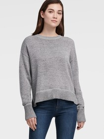 Donna Karan DROP-SHOULDER SWEATER WITH STEP-HEM
