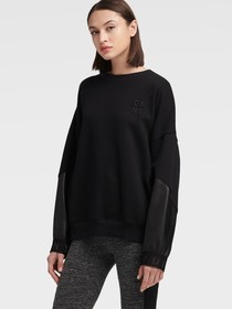 Donna Karan FLEECE TOP WITH FAUX LEATHER SLEEVES