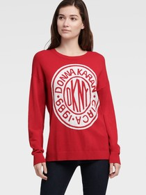 Donna Karan LUREX TOKEN LOGO SWEATER