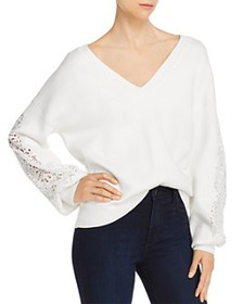 FRENCH CONNECTION - Severine Lace-Sleeve V-Neck Sw