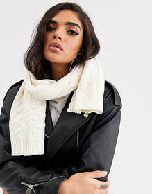 Missguided cable knit scarf in cream