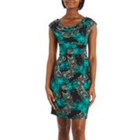 Petite Draped Collar Cap Sleeve Floral Ruched Side