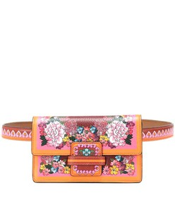 Etro Printed leather and velvet belt bag