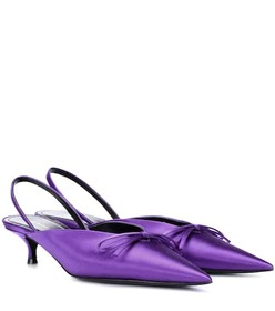 Balenciaga Knife satin slingback pumps
