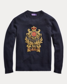 Ralph Lauren Bullion-Patch Cashmere Sweater