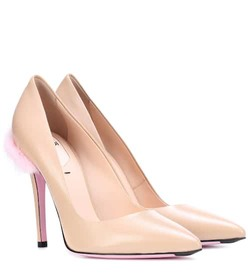 Fendi Mink-trimmed leather pumps