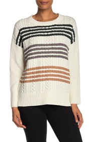 BCBGMAXAZRIA Colorblock Stripe Crew Neck Sweater