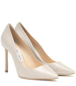 Jimmy Choo Romy 100 metallic canvas pumps