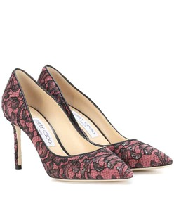 Jimmy Choo Romy 85 leather and lace pumps