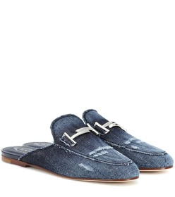 Tod's Distressed denim slippers