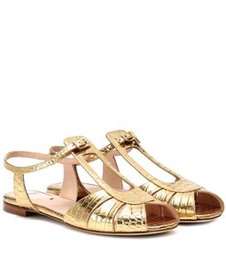 Fendi Embossed leather sandals