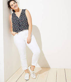 LOFT Plus Modern Cuffed Straight Leg Jeans in Whit