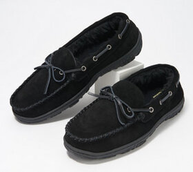 """As Is"" Clarks Suede Men's Faux Fur Lined Moccasin"