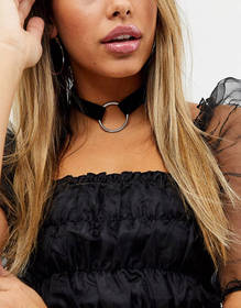 ASOS DESIGN choker necklace with open circle in bl