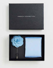 French Connection plain pocket square & lapel pin