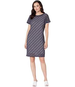 Jones New York Short Sleeve Bias Front Wedge Dress
