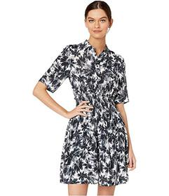 Nicole Miller Painted Flowers Smocked Flare Dress