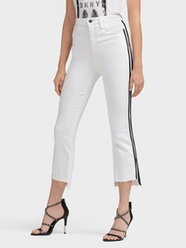Donna Karan WHITE JEANS WITH RACER STRIPES