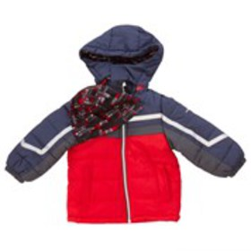 LONDON FOG Boys Color Block Hooded Puffer Coat wit