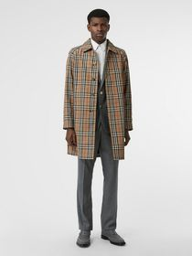 Burberry Vintage Check Car Coat in Archive Beige
