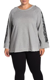 Seven7 French Terry Contrast Print Sweater (Plus S