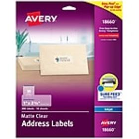 Avery Matte Clear Address Labels, Sure Feed Techno