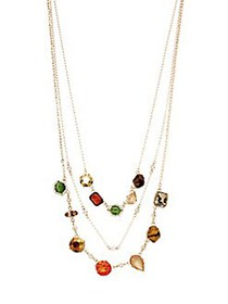 Noir Goldtone 3-Row Candy Stone Necklace GOLD