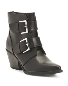 ESPRIT Double Buckle Pointy Toe Booties