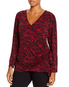 MICHAEL Michael Kors Plus - Lace-Print Faux-Wrap T
