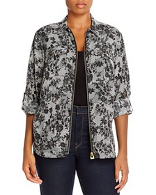 MICHAEL Michael Kors Plus - Printed Zip Blouse
