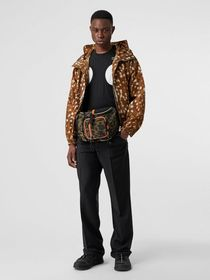 Burberry Deer Print Nylon Hooded Jacket in Honey