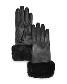 Fownes - Faux Fur-Trim Leather Tech Gloves