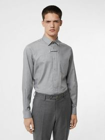 Burberry Monogram Button Cotton Shirt in Light Gre
