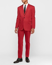 Express slim red cotton sateen stretch suit jacket