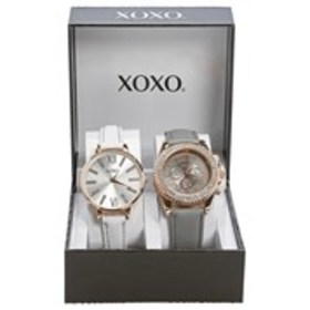 XOXO Womens Crystal Bezel & Thin Strap 2 Piece Wat