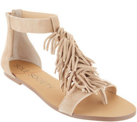 """As Is"" Sole Society Suede Fringe Flat Sandals-Koa"