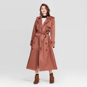Women's Long Sleeve Banded Cuff Trench Coat - A Ne