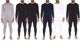Real Essentials Men's Long Sleeve Thermal Long Joh