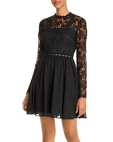 AQUA - Lace-Bodice Fit-and-Flare Dress - 100% Excl
