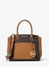 Michael Kors Park Medium Logo and Leather Satchel