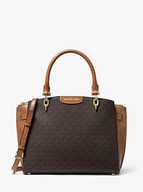 Michael Kors Rochelle Large Logo and Leather Satch