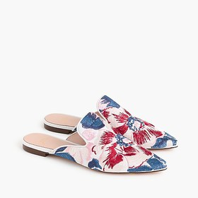 J. Crew Pointed-toe slides in brocade