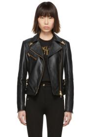 Versace Jeans Couture Black Leather Perfecto Jacke