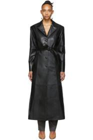 Situationist Black Leather Trench Coat