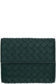 Bottega Veneta Blue Intrecciato Mini Bifold Wallet